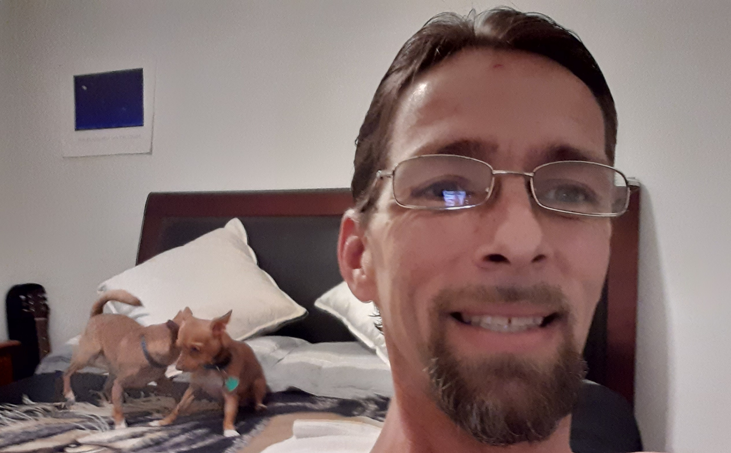 The Veteran, Tim, smiling with his own room with his two dogs