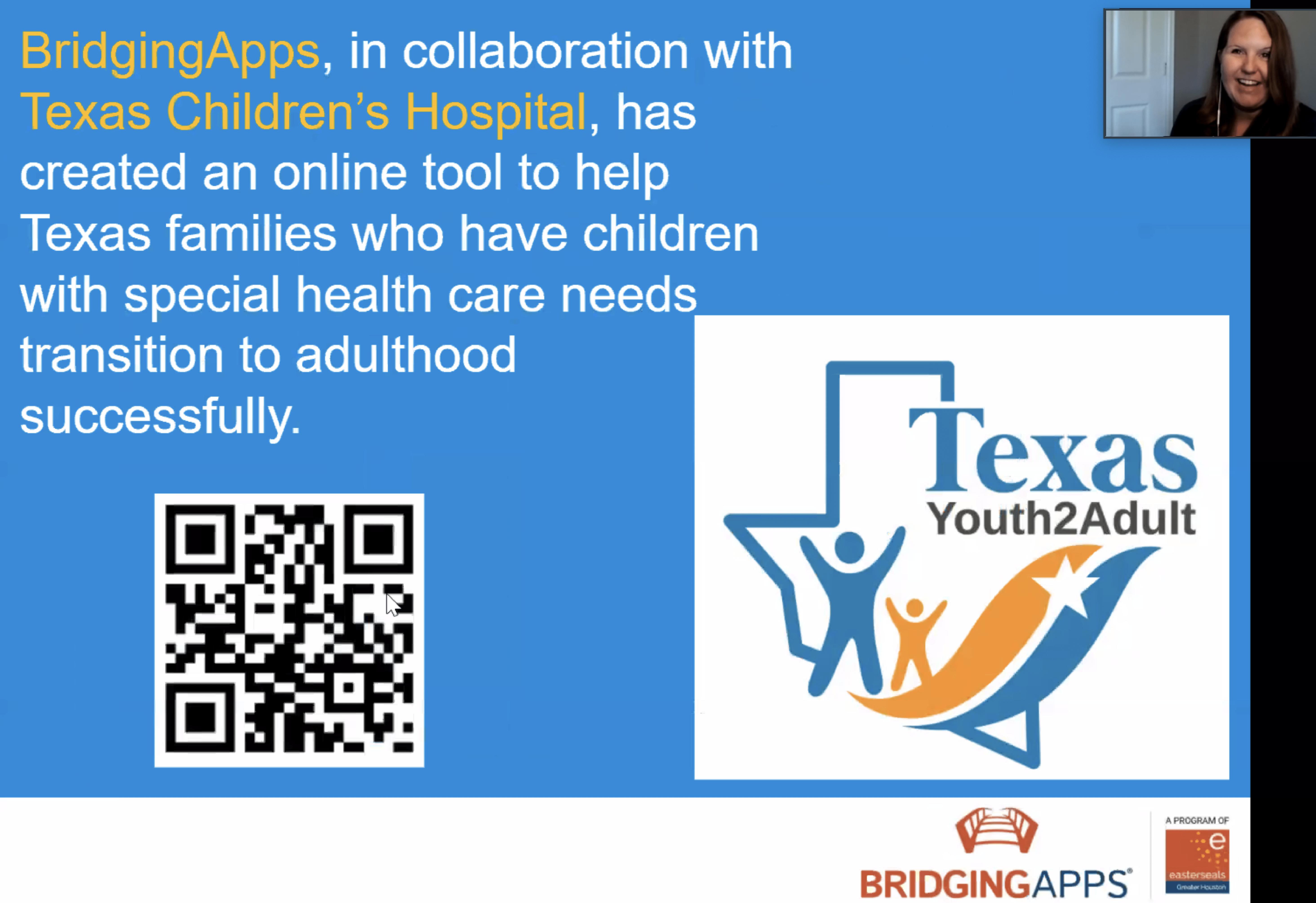 BridgingApps' Amy Fuchs giving a presentation over TexasYouth2Adult